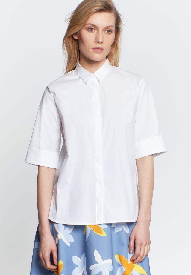 Kurzarm Popeline Hemdbluse aus 75% Baumwolle 20% Polyamid/Nylon 5% Elastan in weiß |  Seidensticker Onlineshop
