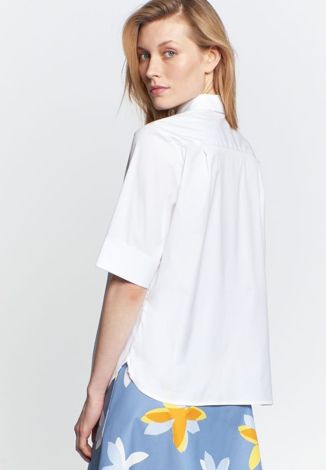 Short arm Poplin Shirt Blouse made of 75% Cotton 20% Polyamid/Nylon 5% Elastane in White |  Seidensticker Onlineshop