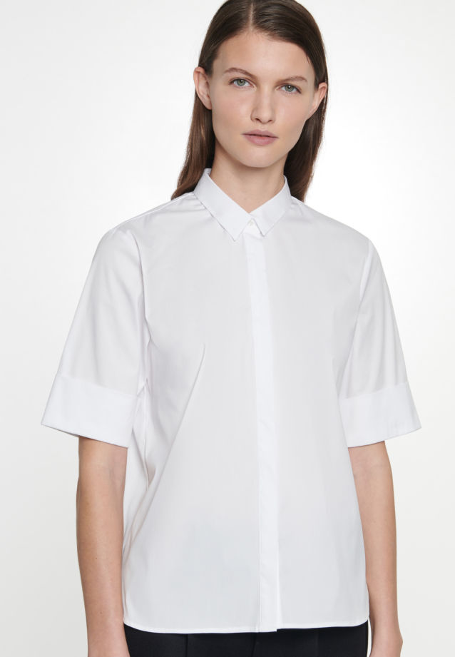 Short sleeve Poplin Shirt Blouse made of cotton blend in White |  Seidensticker Onlineshop