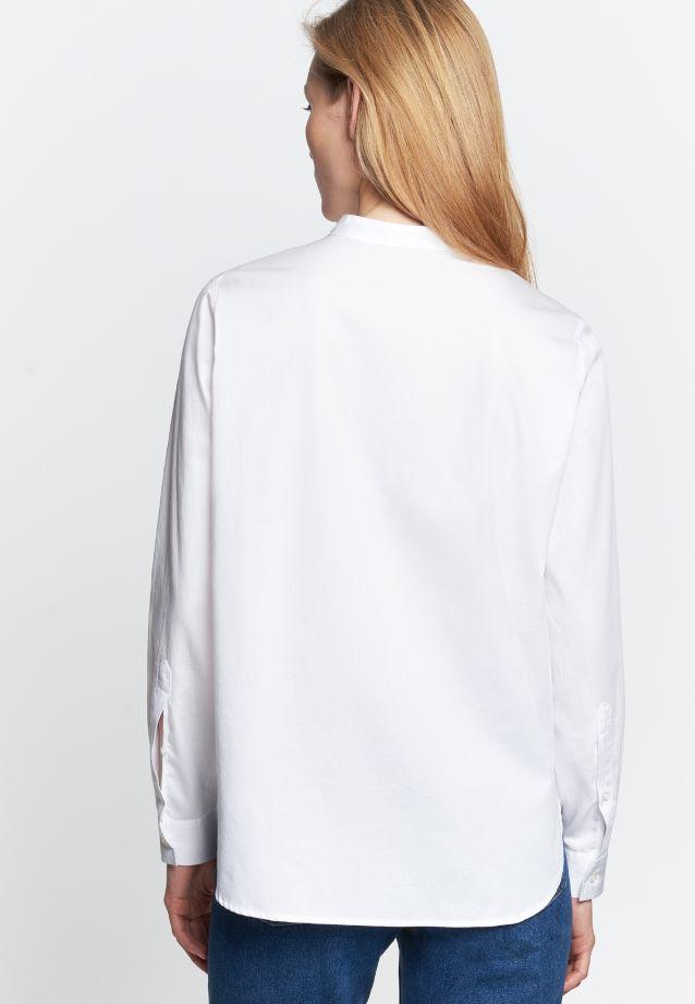 Satin Stand-Up Blouse made of 100% Cotton in weiß |  Seidensticker Onlineshop