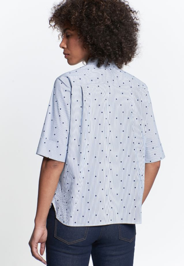 Short arm Poplin Shirt Blouse made of 76% Cotton 22% Polyamid/Nylon 2% Elastane in Dark blue |  Seidensticker Onlineshop