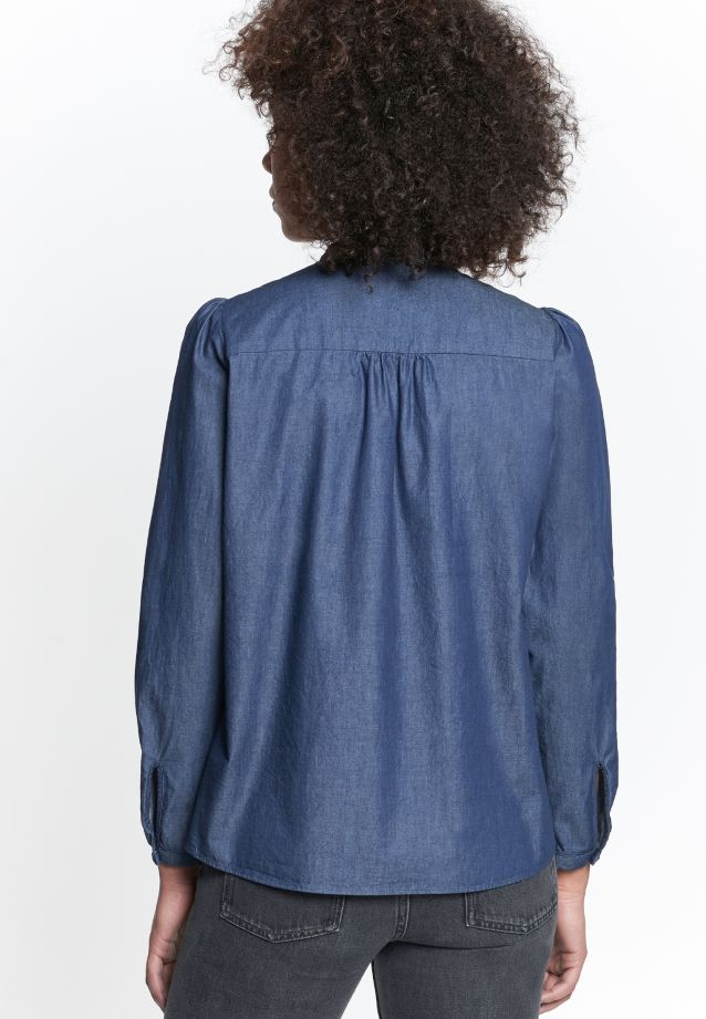 Denim Stand-Up Blouse made of 100% Cotton in blau |  Seidensticker Onlineshop