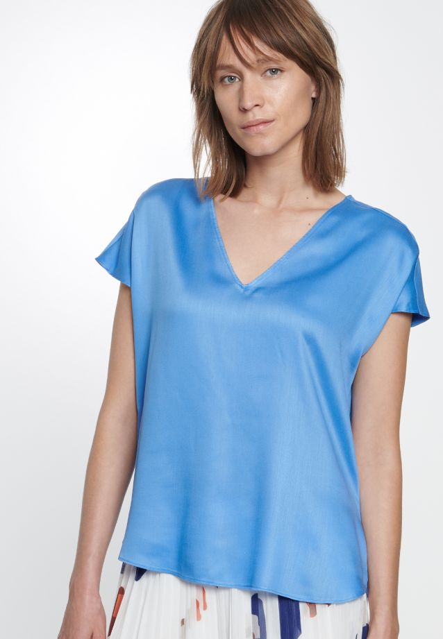 Kurzarm Popeline Shirtbluse aus 100% Viskose in blau (NP)    Seidensticker Onlineshop
