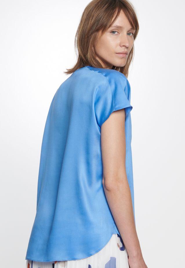 Kurzarm Popeline Shirtbluse aus 100% Viskose in Mittelblau |  Seidensticker Onlineshop