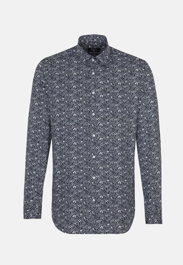 Easy-iron Poplin Business Shirt in Tailored with Kent-Collar in Dark blue |  Seidensticker Onlineshop