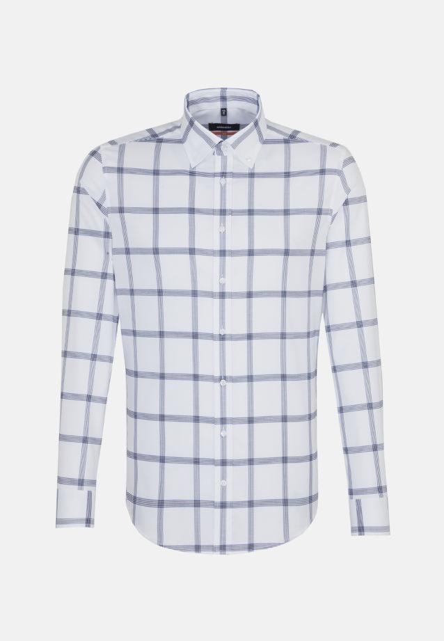 Bügelfreies Twill Business Hemd in Slim mit Button-Down-Kragen in Mittelblau |  Seidensticker Onlineshop