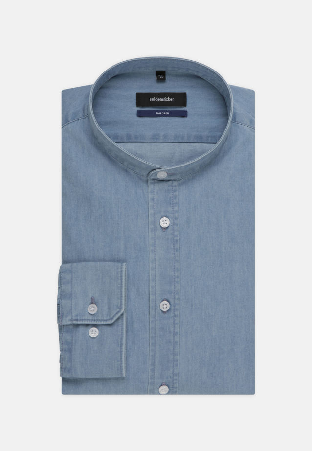 Easy-iron Denim Business Shirt in Shaped with Stand-Up Collar in Light blue |  Seidensticker Onlineshop