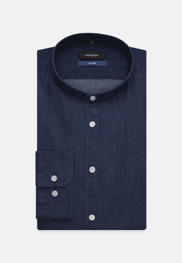 Easy-iron Denim Business Shirt in Shaped with Stand-Up Collar in Dark blue |  Seidensticker Onlineshop