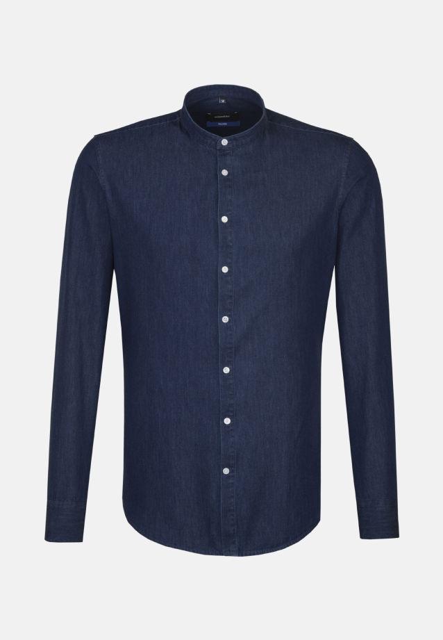 Bügelleichtes Denim Business Hemd in Tailored mit Stehkragen in Dunkelblau    Seidensticker Onlineshop