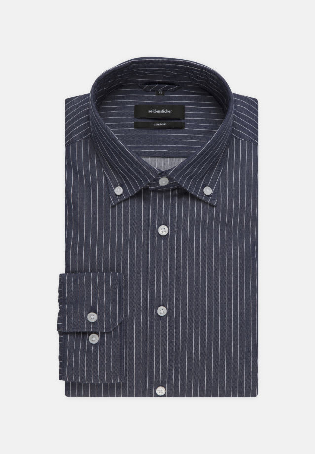 Bügelleichtes Twill Business Hemd in Comfort mit Button-Down-Kragen in Dunkelblau |  Seidensticker Onlineshop