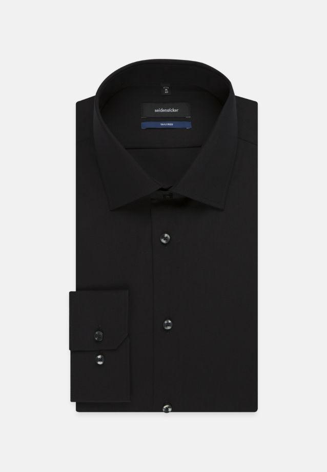 Bügelfreies Popeline Business Hemd in Tailored mit Kentkragen und extra langem Arm in schwarz |  Seidensticker Onlineshop