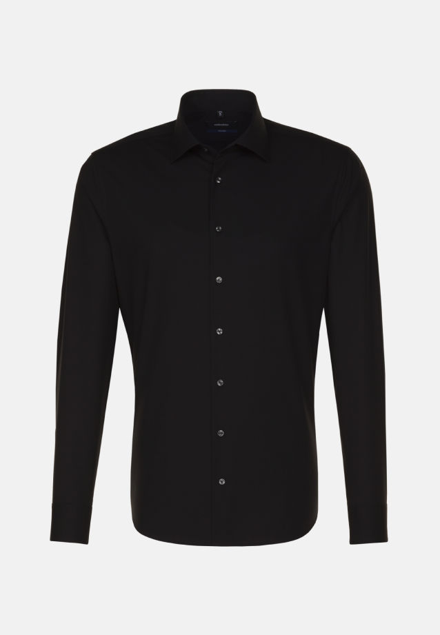 Non-iron Poplin Business Shirt in Tailored with Kent-Collar and extra long arm in Schwarz |  Seidensticker Onlineshop