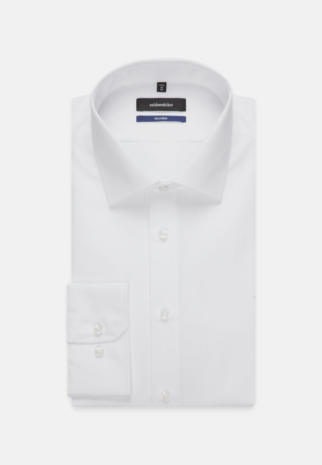 Non-iron Poplin Business Shirt in Shaped with Kent-Collar and extra long arm in White |  Seidensticker Onlineshop
