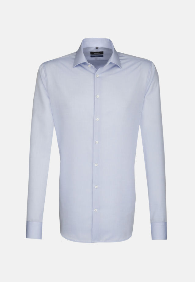 Non-iron Poplin Business Shirt in Tailored with Kent-Collar and extra long arm in Medium blue |  Seidensticker Onlineshop