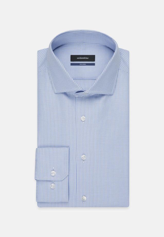 Bügelleichtes Struktur Business Hemd in Tailored mit Kentkragen in blau |  Seidensticker Onlineshop