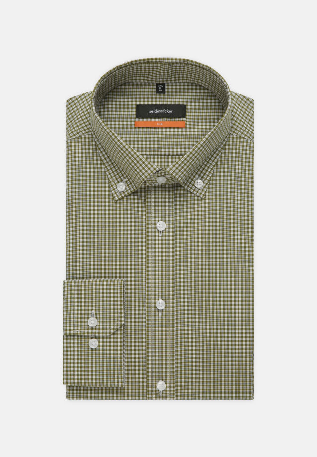 Non-iron Poplin Business Shirt in Slim with Button-Down-Collar in Green |  Seidensticker Onlineshop
