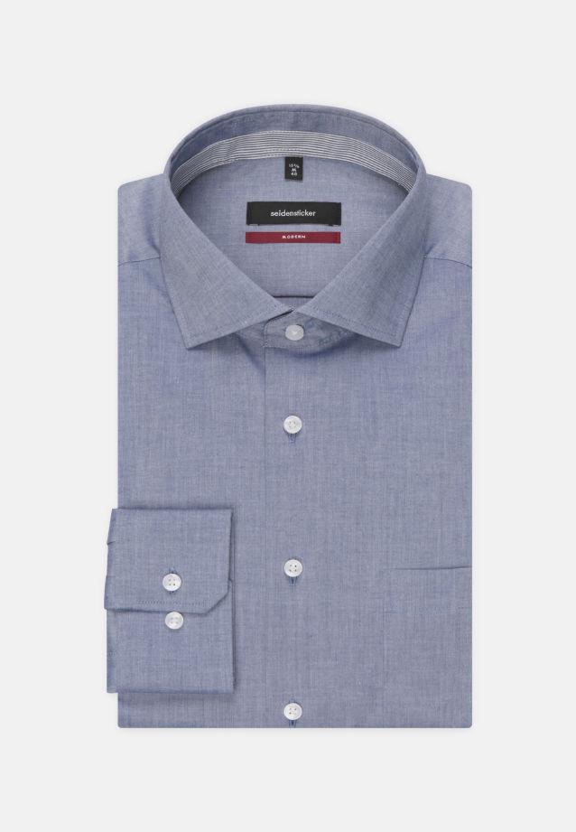 Bügelfreies Chambray Business Hemd in Modern mit Kentkragen in Dunkelblau |  Seidensticker Onlineshop