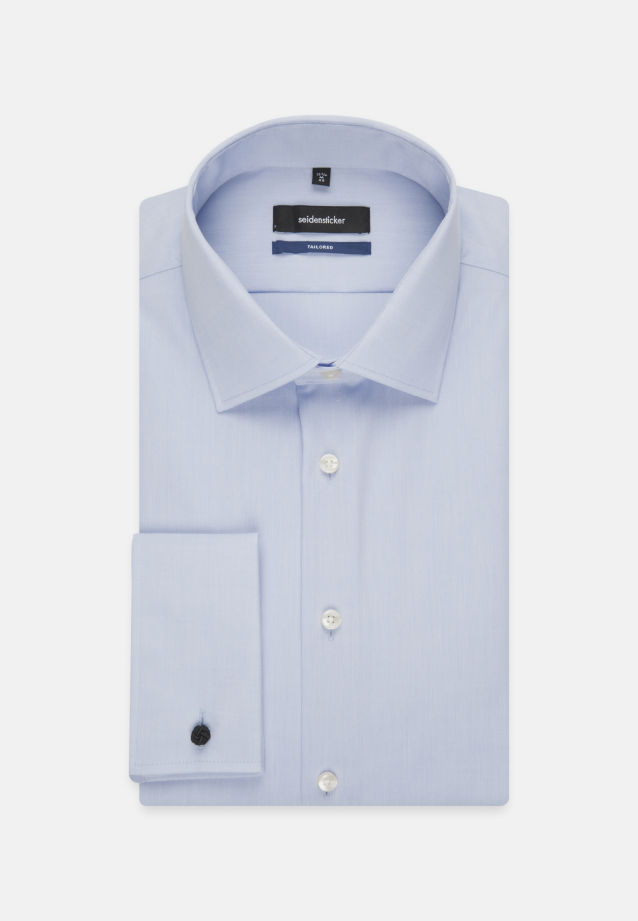 Non-iron Poplin Business Shirt in Shaped with Kent-Collar in Mittelblau |  Seidensticker Onlineshop