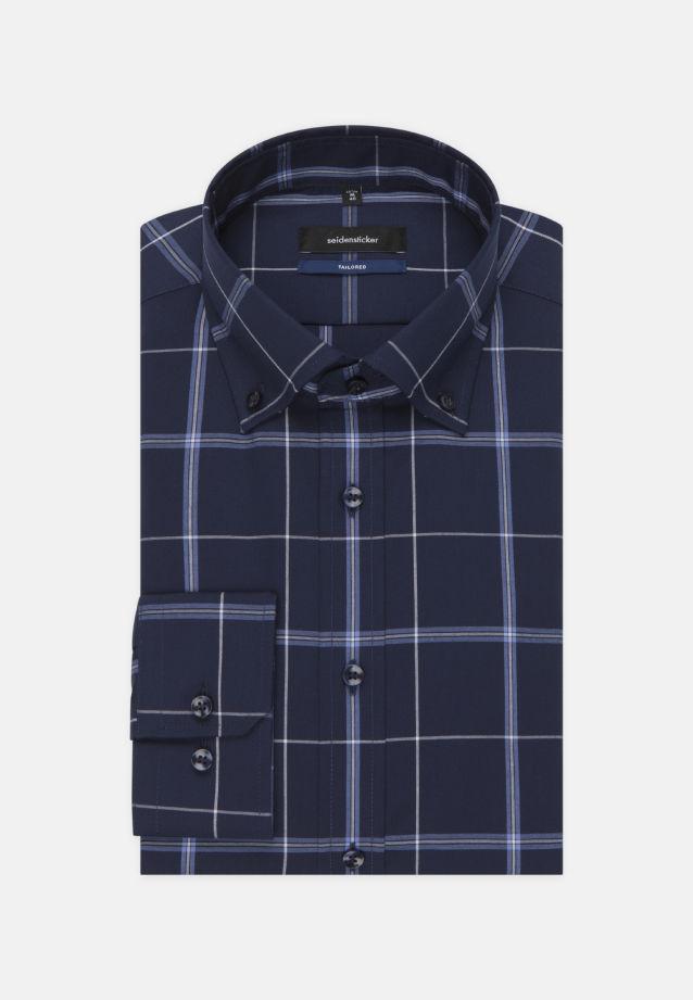 Non-iron Poplin Business Shirt in Tailored with Button-Down-Collar in Dark blue |  Seidensticker Onlineshop