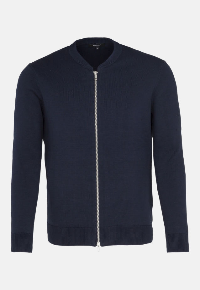 Crew Neck Knit Bomber made of 100% Cotton in Dark blue |  Seidensticker Onlineshop