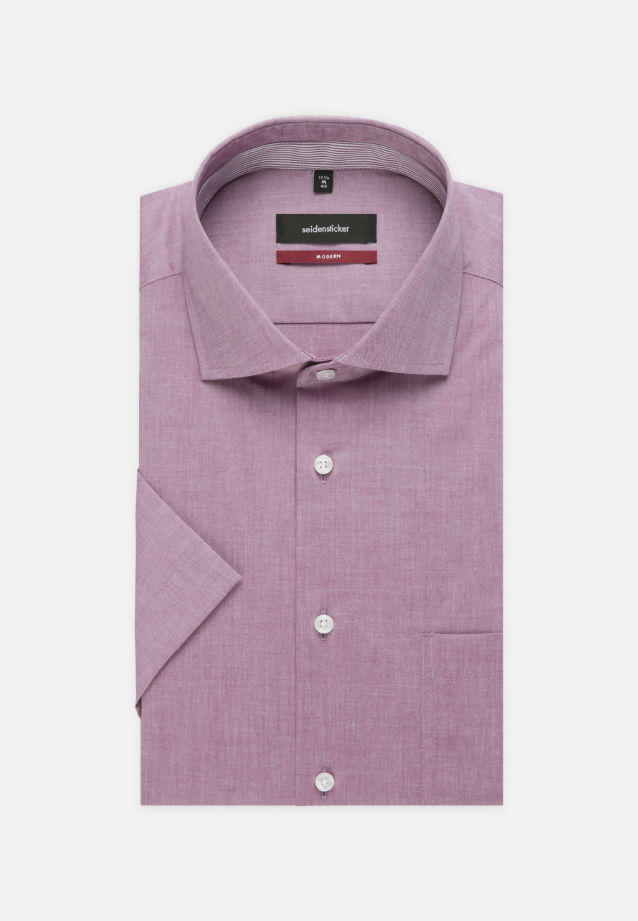 Bügelfreies Chambray Kurzarm Business Hemd in Regular mit Kentkragen in Lila    Seidensticker Onlineshop