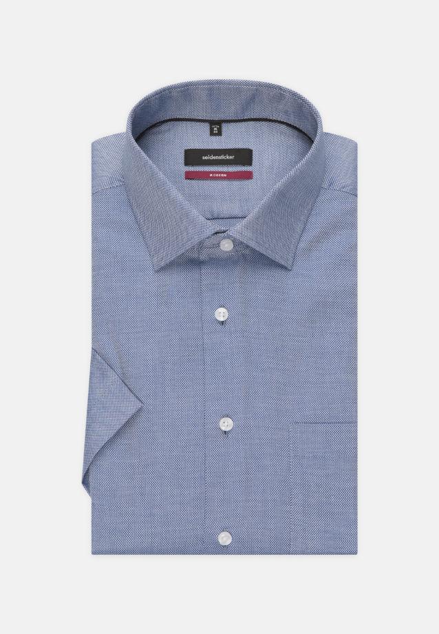Bügelfreies Struktur Kurzarm Business Hemd in Modern mit Kentkragen in blau    Seidensticker Onlineshop