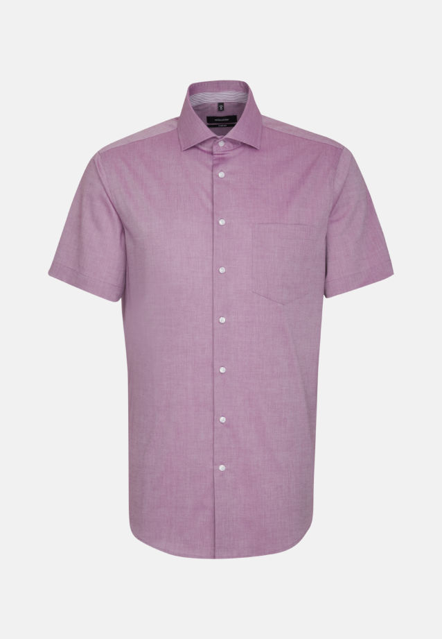 Bügelfreies Chambray Kurzarm Business Hemd in Comfort mit Kentkragen in Lila |  Seidensticker Onlineshop