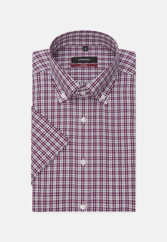 Non-iron Poplin Short arm Business Shirt in Regular with Button-Down-Collar in Purple |  Seidensticker Onlineshop