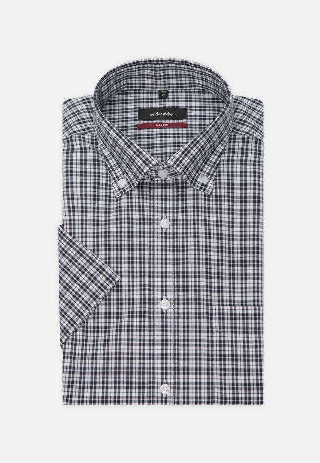 Bügelfreies Popeline Kurzarm Business Hemd in Modern mit Button-Down-Kragen in Dunkelblau    Seidensticker Onlineshop
