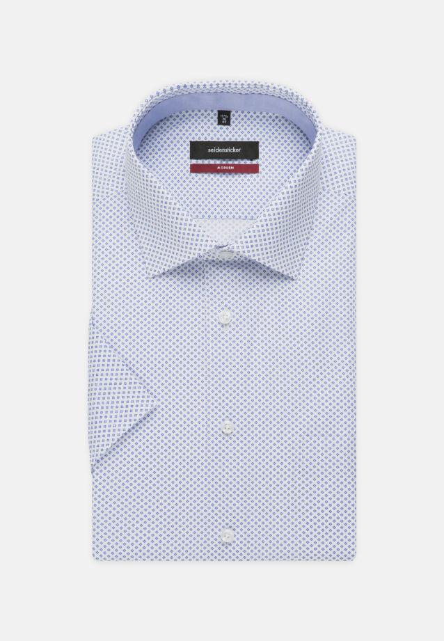 Bügelleichtes Popeline Kurzarm Business Hemd in Modern mit Kentkragen in blau    Seidensticker Onlineshop
