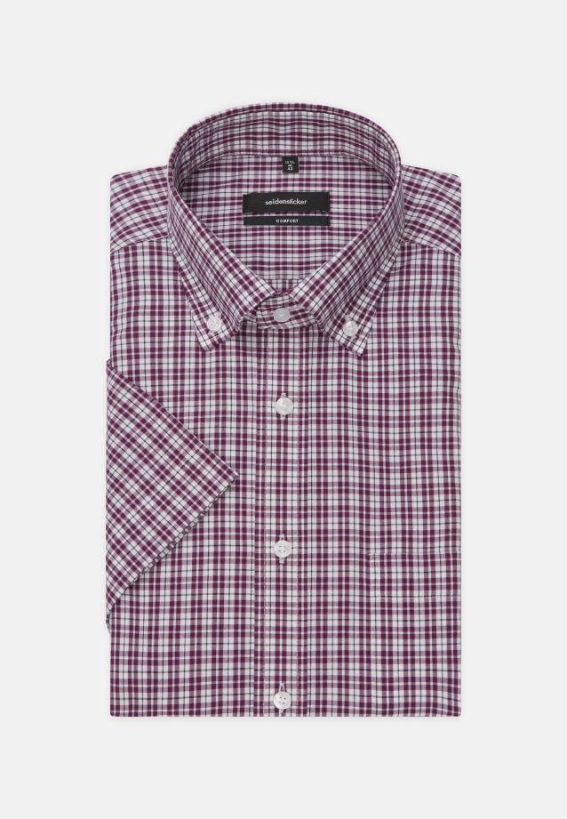 Bügelfreies Popeline Kurzarm Business Hemd in Comfort mit Button-Down-Kragen in Lila    Seidensticker Onlineshop