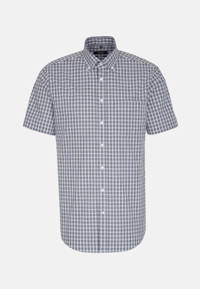 Bügelfreies Popeline Kurzarm Business Hemd in Comfort mit Button-Down-Kragen in Dunkelblau |  Seidensticker Onlineshop