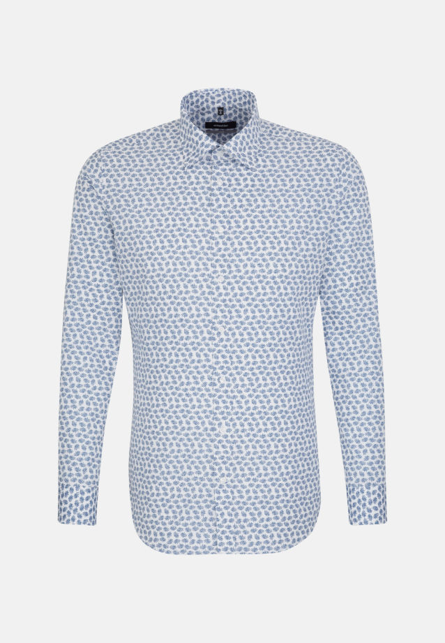 Easy-iron Poplin Business Shirt in X-Slim with Covered-Button-Down-Collar in Medium blue |  Seidensticker Onlineshop