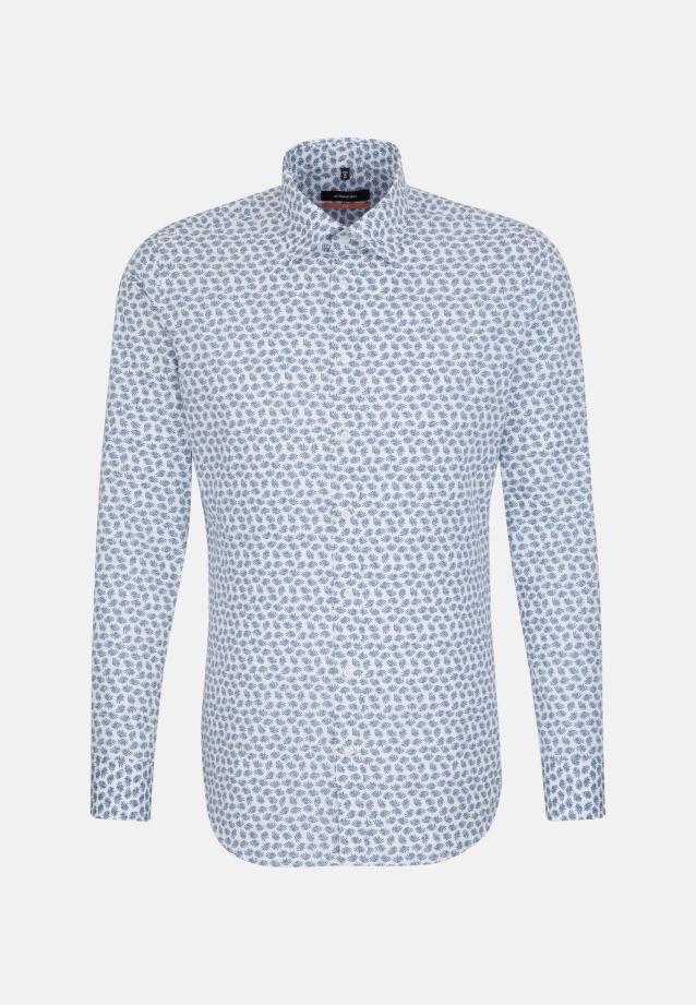 Bügelleichtes Popeline Business Hemd in Slim mit Covered-Button-Down-Kragen in blau |  Seidensticker Onlineshop