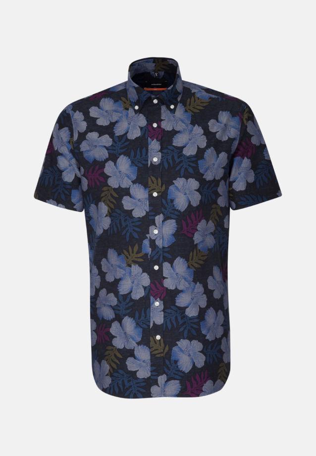 Easy-iron Poplin Short sleeve Business Shirt in Slim with Button-Down-Collar in Dark blue    Seidensticker Onlineshop