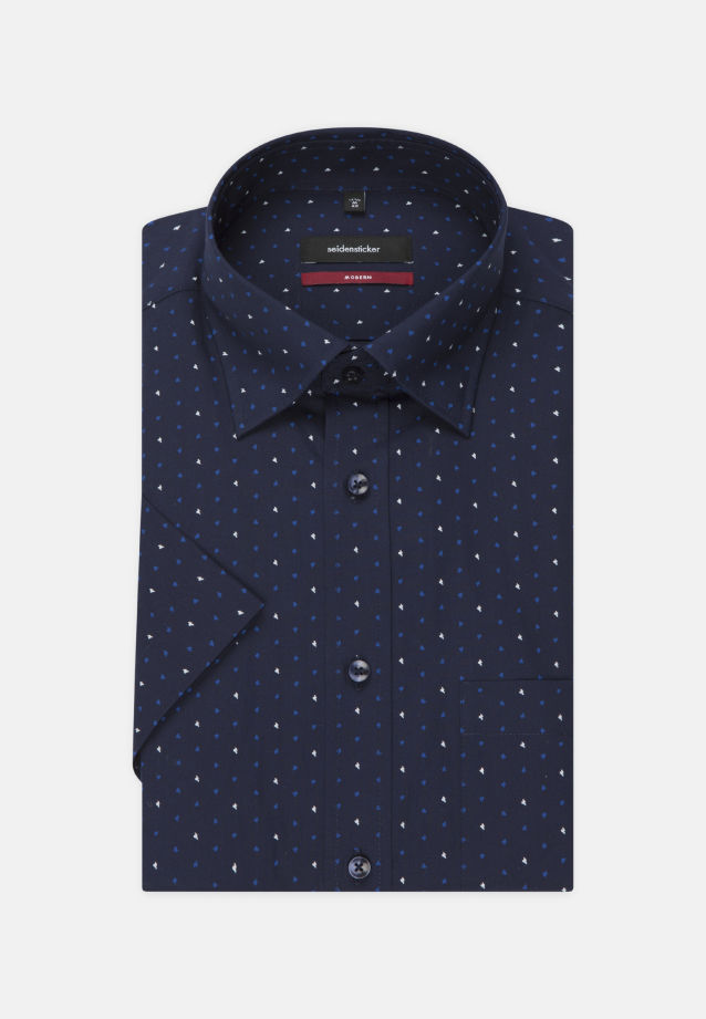 Bügelleichtes Popeline Kurzarm Business Hemd in Modern mit Covered-Button-Down-Kragen in blau |  Seidensticker Onlineshop
