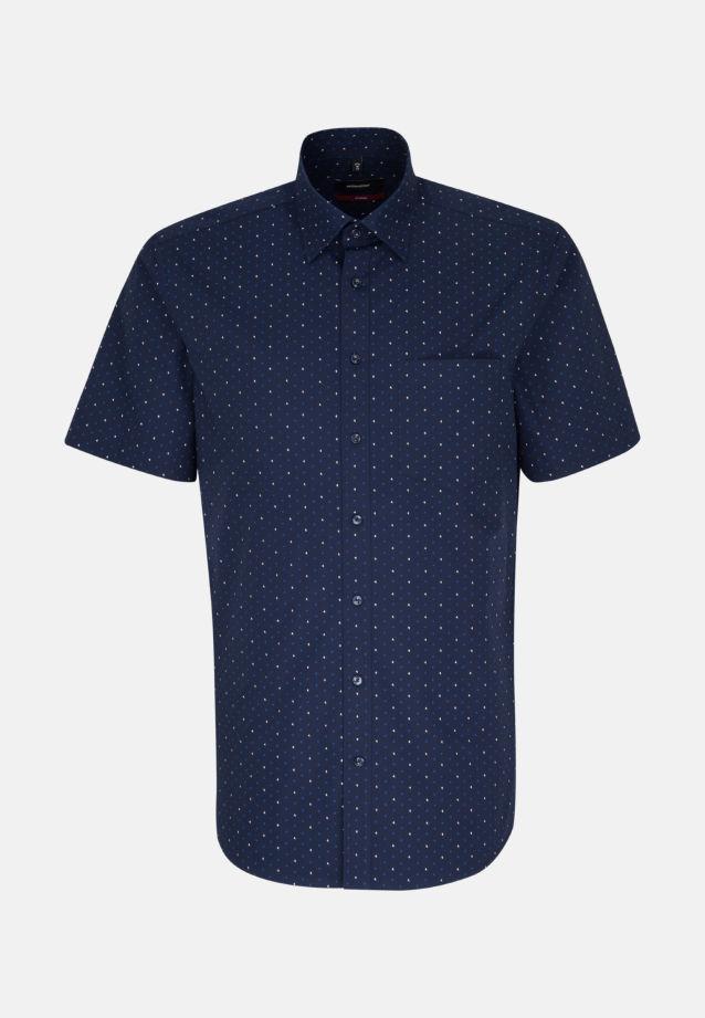 Bügelleichtes Popeline Kurzarm Business Hemd in Regular mit Covered-Button-Down-Kragen in Mittelblau |  Seidensticker Onlineshop
