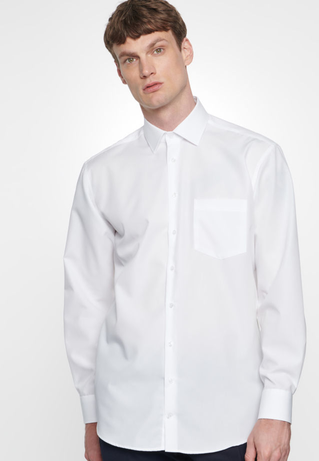 Non-iron Poplin Business Shirt in Comfort with Kent-Collar in weiß |  Seidensticker Onlineshop