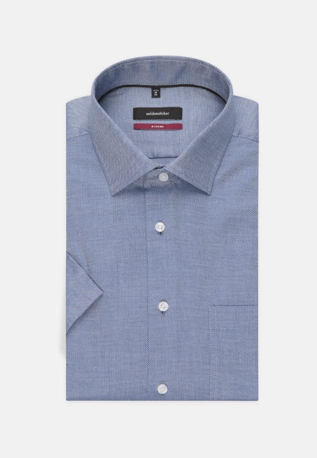 Bügelfreies Struktur Kurzarm Business Hemd in Comfort mit Kentkragen in blau    Seidensticker Onlineshop