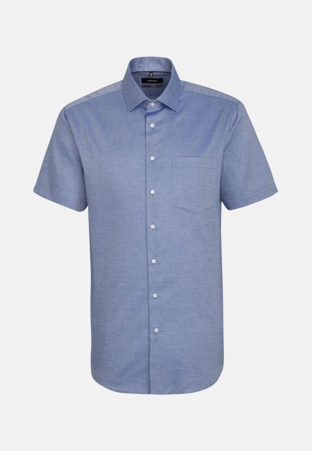 Bügelfreies Struktur Kurzarm Business Hemd in Comfort mit Kentkragen in Mittelblau |  Seidensticker Onlineshop