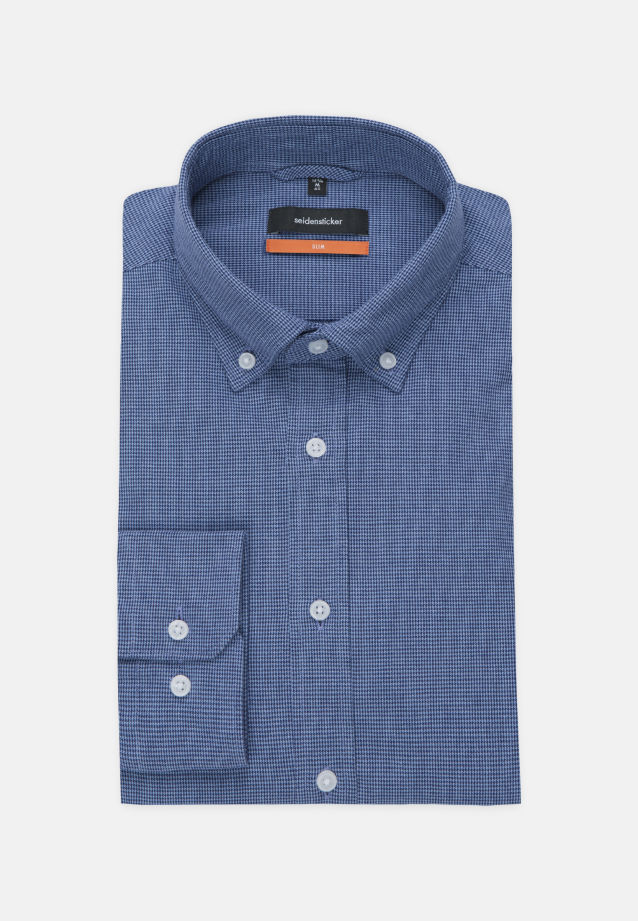 Popeline Business Hemd in Slim mit Button-Down-Kragen in Dunkelblau |  Seidensticker Onlineshop