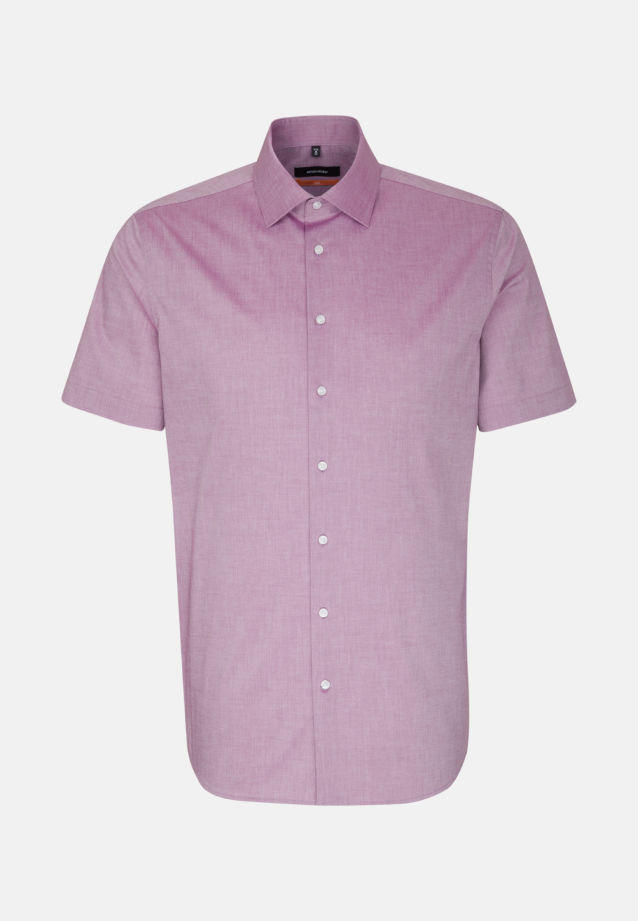 Non-iron Chambray Short sleeve Business Shirt in Slim with Kent-Collar in Purple |  Seidensticker Onlineshop