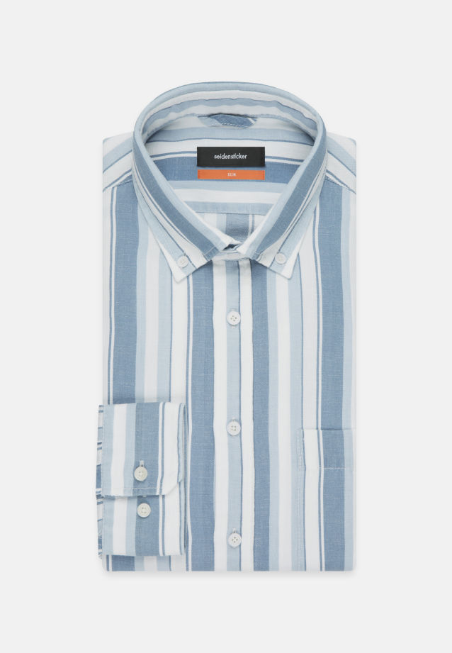 Linen Business Shirt in Slim with Button-Down-Collar in Medium blue |  Seidensticker Onlineshop