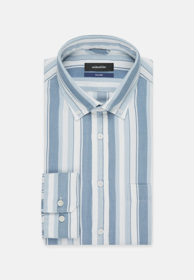 Leinen Business Hemd in Shaped mit Button-Down-Kragen in Mittelblau |  Seidensticker Onlineshop
