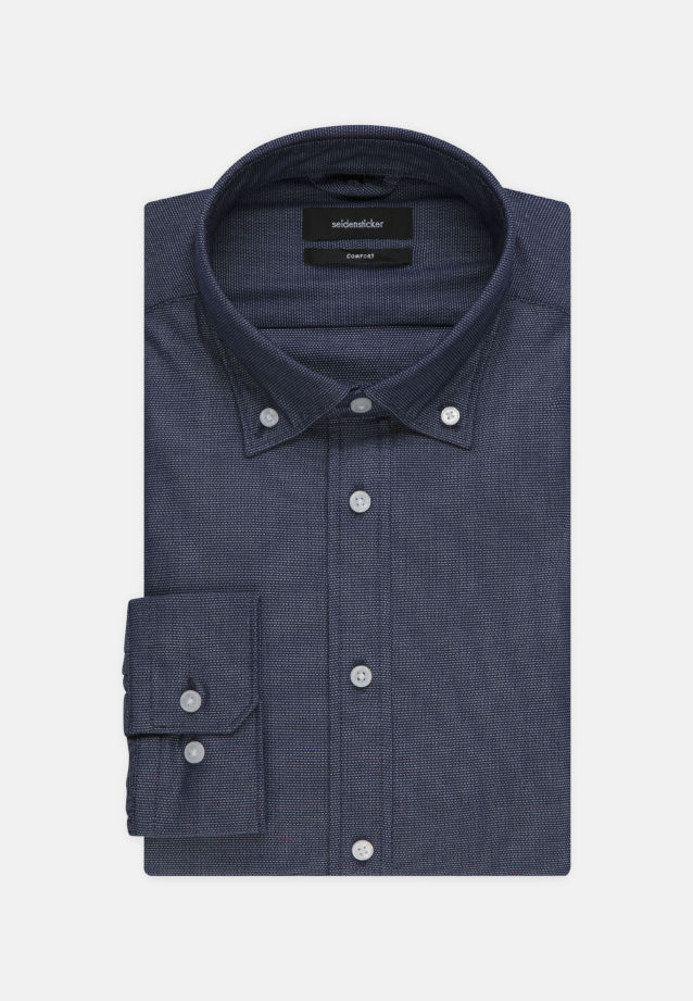 Bügelleichtes Struktur Business Hemd in Comfort mit Button-Down-Kragen in blau |  Seidensticker Onlineshop