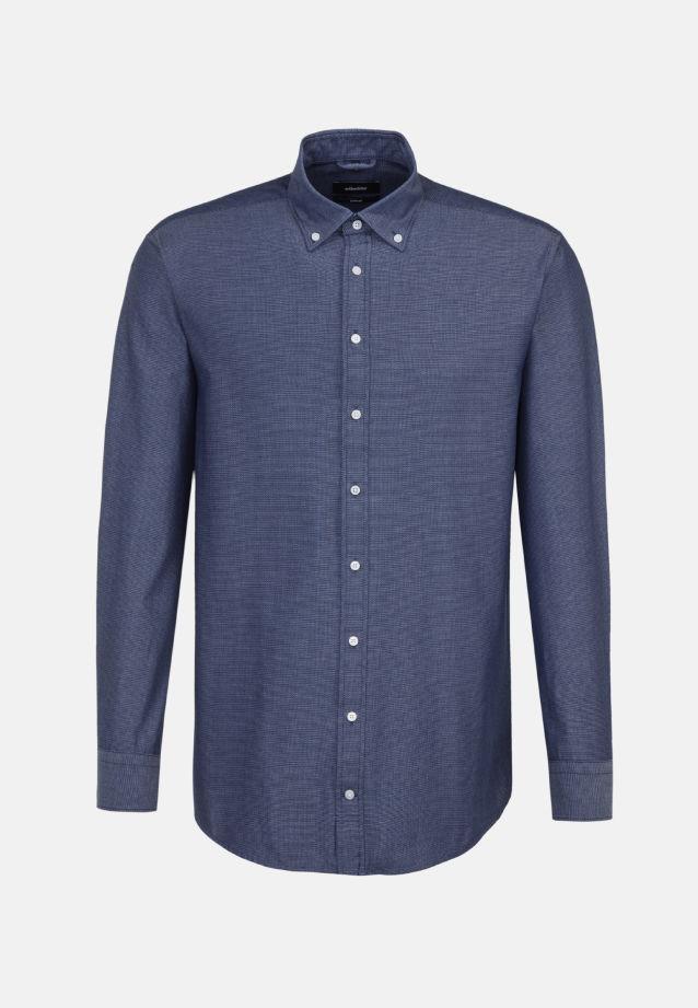 Easy-iron Structure Business Shirt in Comfort with Button-Down-Collar in Dark blue |  Seidensticker Onlineshop