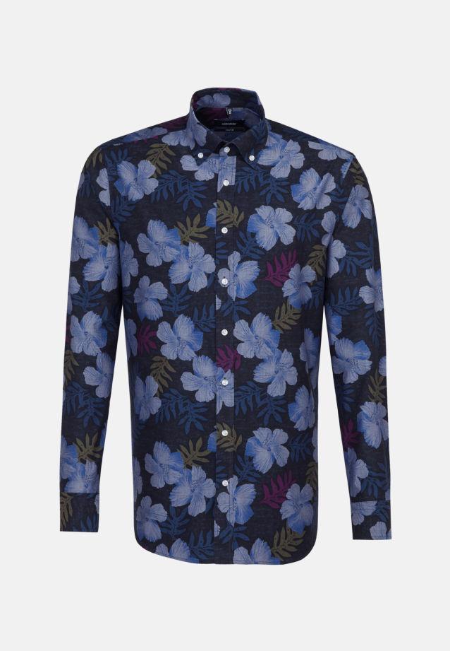 Bügelleichtes Popeline Business Hemd in Comfort mit Button-Down-Kragen in dunkelblau    Seidensticker Onlineshop