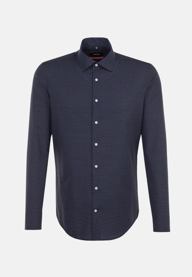 Bügelleichtes Dobby Business Hemd in Slim mit Kentkragen in Dunkelblau |  Seidensticker Onlineshop
