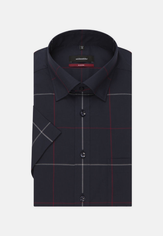Non-iron Poplin Short arm Business Shirt in Modern with Covered-Button-Down-Collar in rot |  Seidensticker Onlineshop