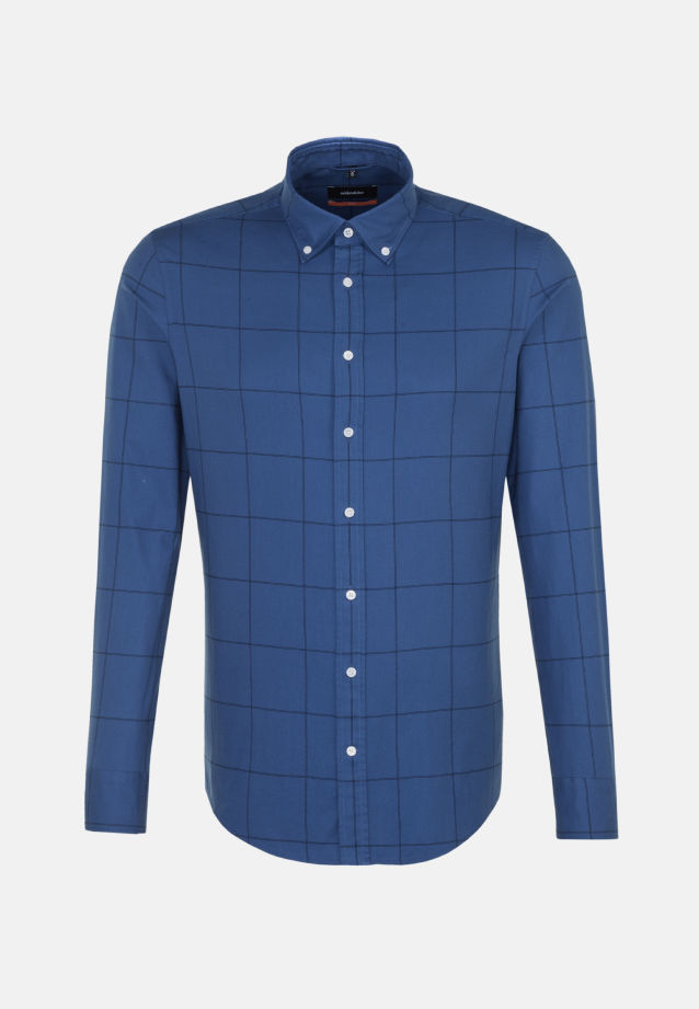 Bügelleichtes Chambray Business Hemd in Slim mit Button-Down-Kragen in Mittelblau |  Seidensticker Onlineshop